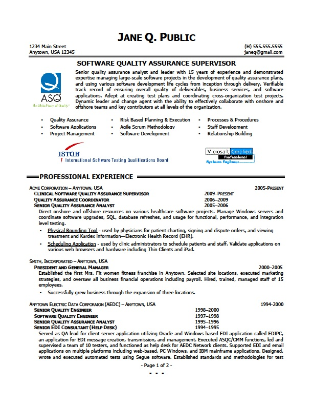 Quality Engineer Resume Sample 22.06.2017