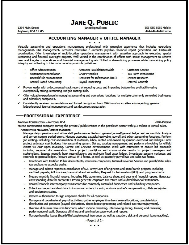 Accounting Mangager Resume Sample  Resume Accounting