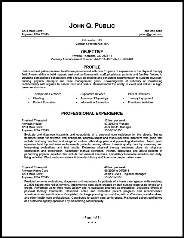 Exceptional Federal Physical Therapist Resume 01 1 For Resume For Physical Therapist