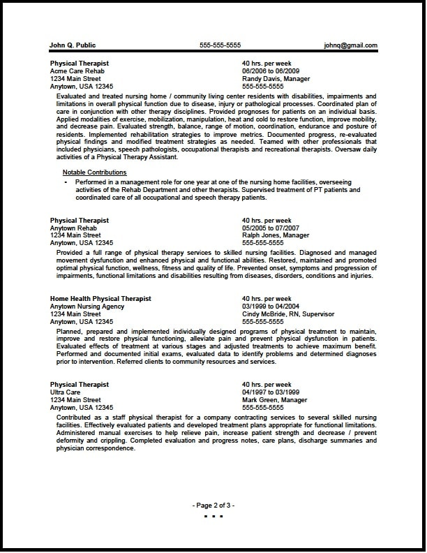 federal physical therapist resume 01-2a