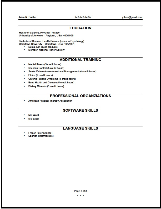 physical therapy student resume template federal therapist objective examples assistant