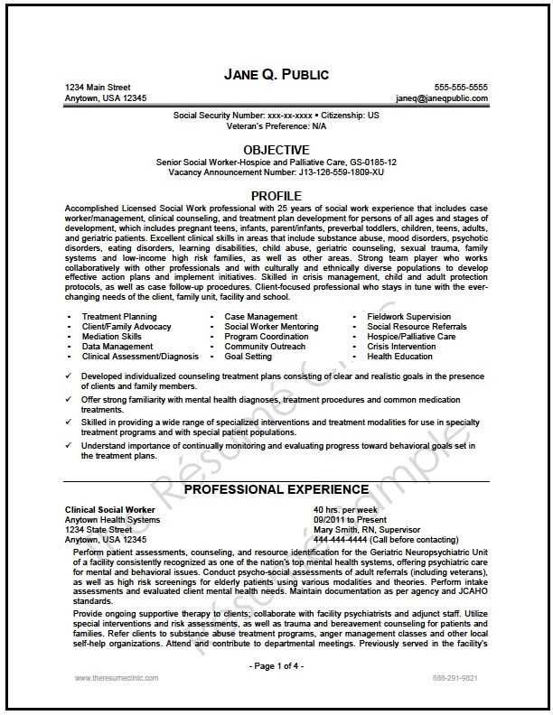 federal social worker resume writer sample the resume clinic - Social Worker Resume Sample