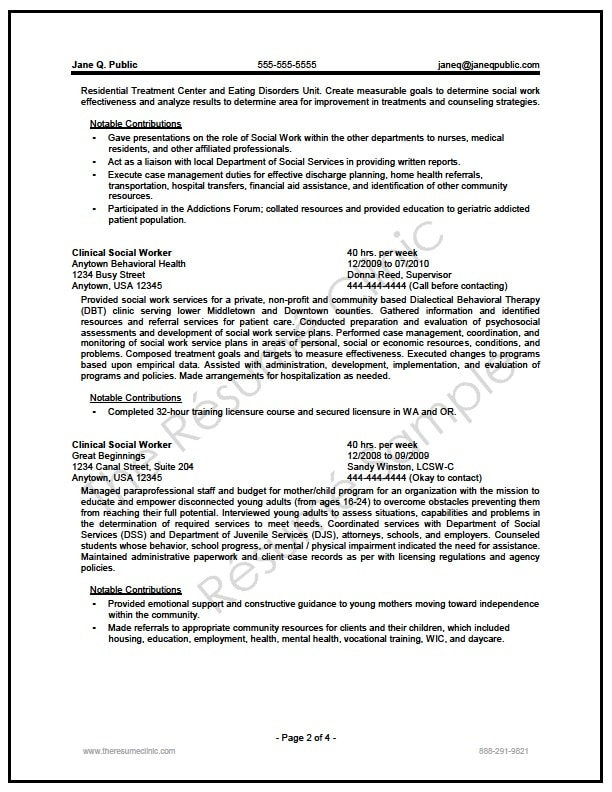 federal social worker resume writer sample