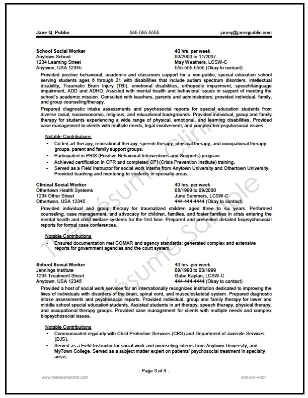 best resume format social worker