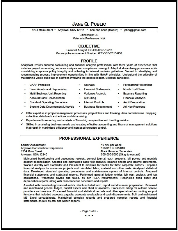 Federal Resume certified federal resume writing services Financial Analyst Resume Pg1
