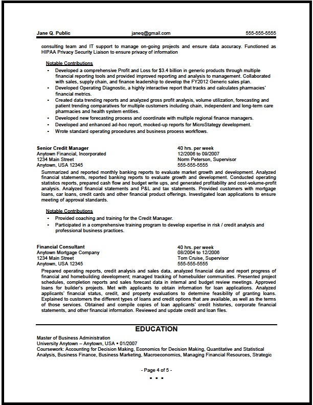 financial analyst resume pg4 - Sample Resume Finance