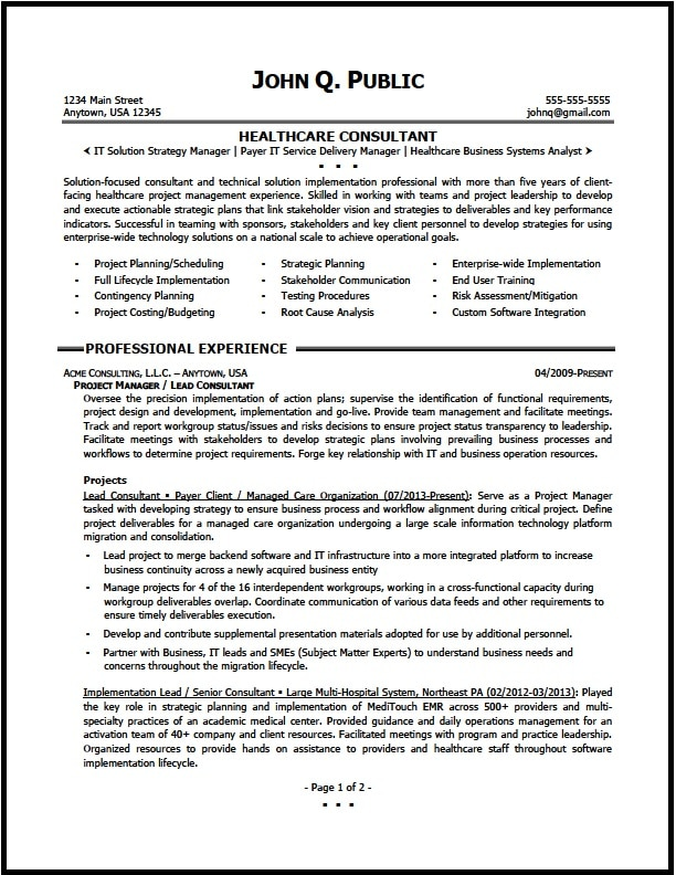 healthcare consulting01 pg1 - Business Consultant Resume Sample