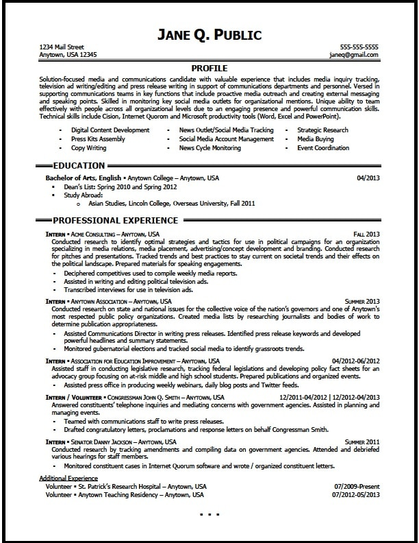 Media and Communications Resume Sample - The Resume Clinic