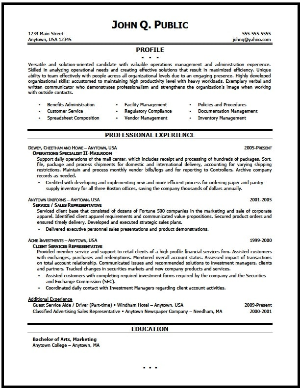 Management reporting resume