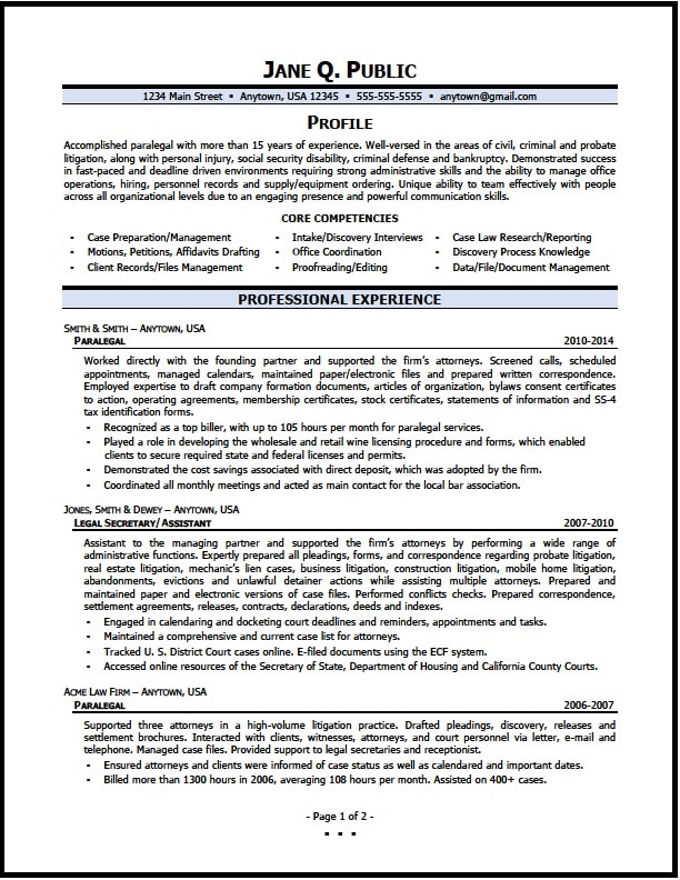 paralegal resume 01 pg1 - Immigration Paralegal Resume Sample