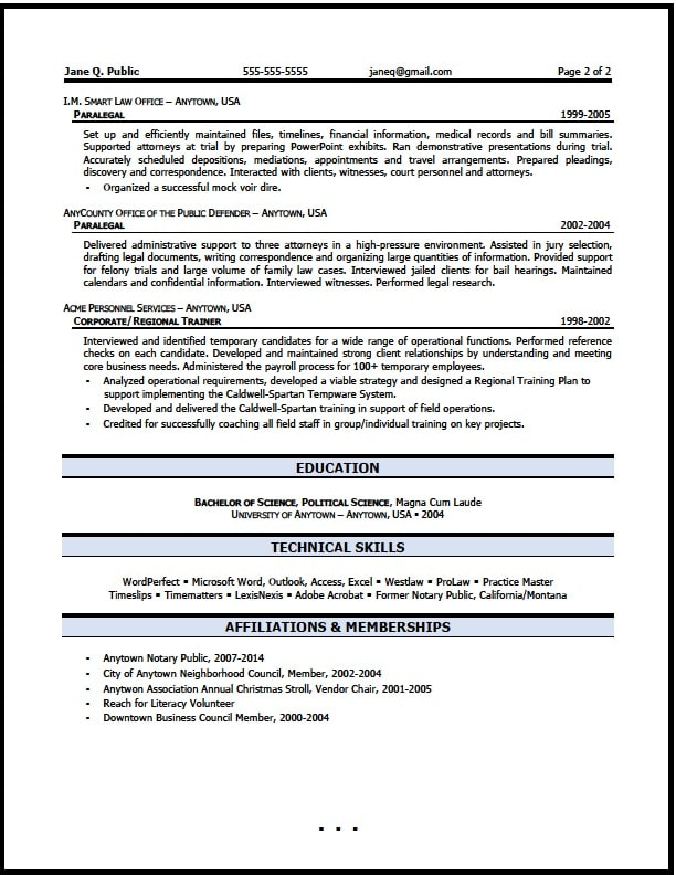 Paralegal Resume Sample The Resume Clinic