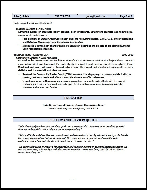 claims examiner resume writer